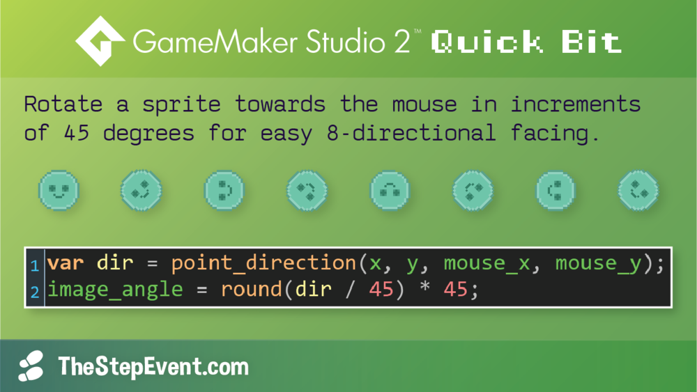 Rotate a sprite towards the mouse in increments of 45 degrees for easy 8-directional facing.