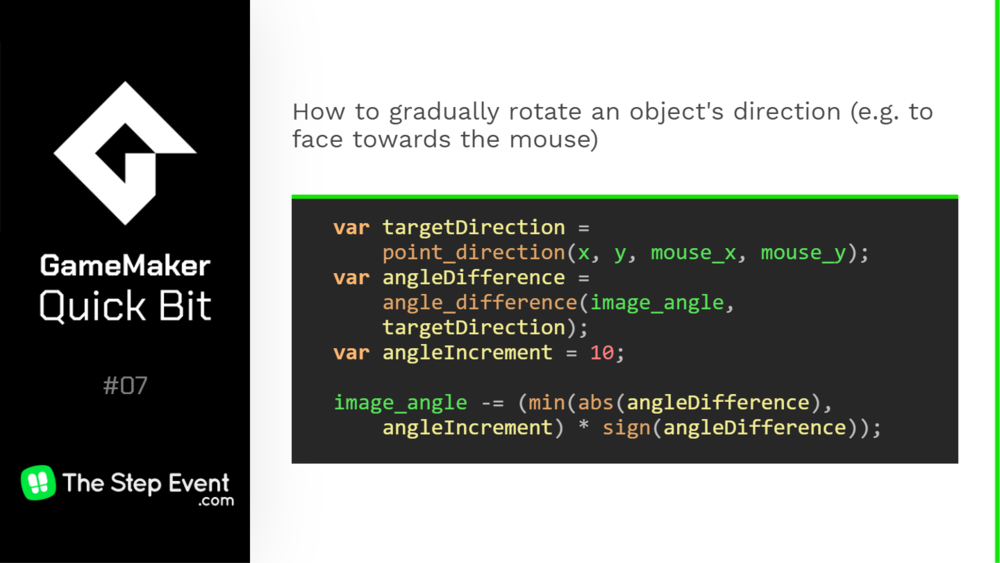How to gradually rotate an object's direction to face towards the mouse