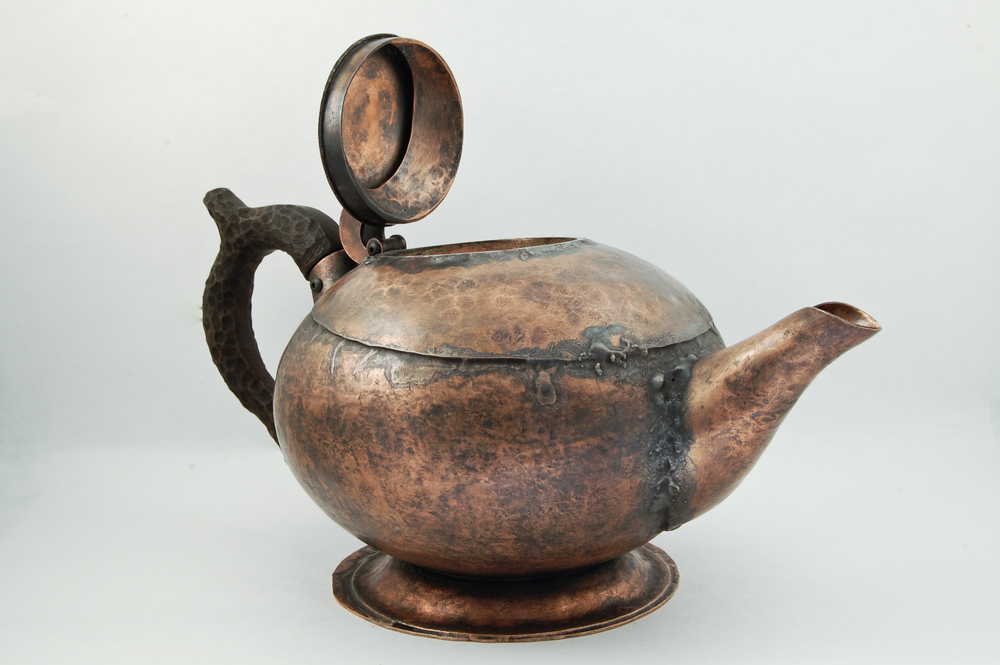 "Teapot    Copper, walnut, hardware. 5""x5""x9"" 2013"