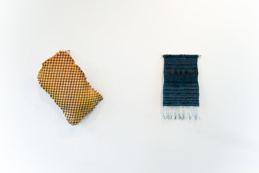 "Left:  Convoluted I   Cement, acrylic paint, wire mesh, Tobasco caddy. 25""x21""x6"" 2017  Right: Textiles by  Megan Mesloh   Photo Credit:  Jason Horvath"