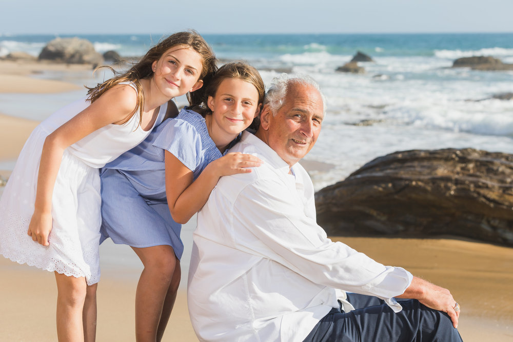 Grandpa and Granddaughters on the Beach for Family Photoshoot.jpg