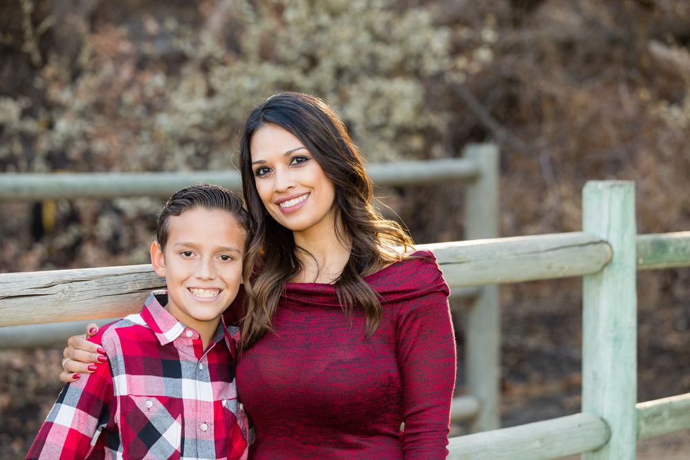 Mother Son Standing Hugging near Horse Trail at Irvine Regional Park Family Photography Session.jpg
