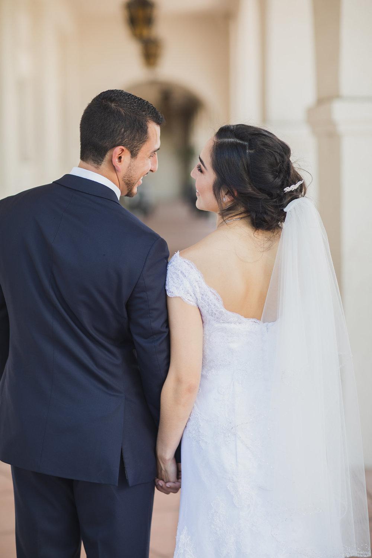 Romantic Wedding Picture of Bride & Groom at San Gabriel Mission.jpg