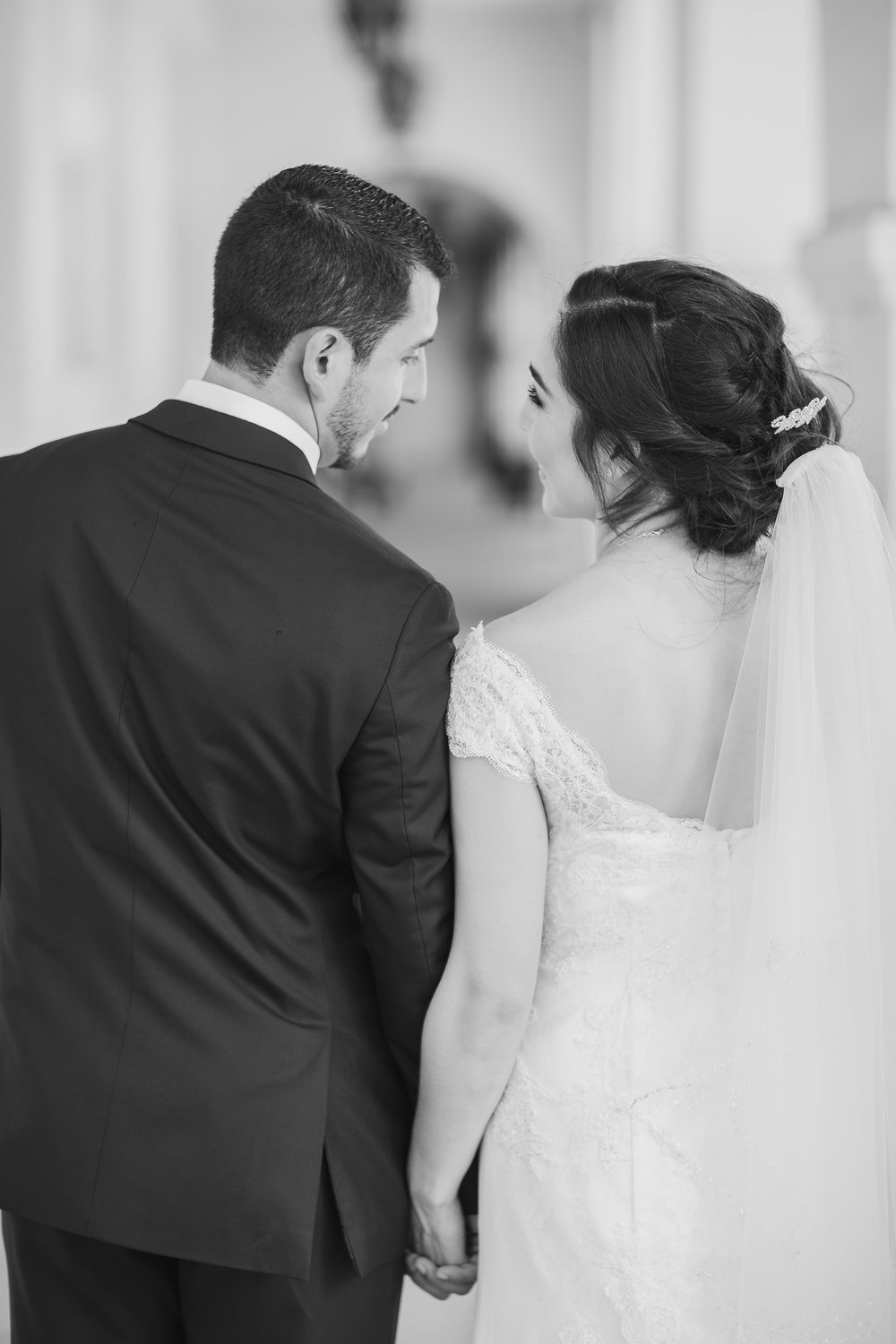 ! Bride and Groom Looking at each other Lovingly in BW photo.jpg