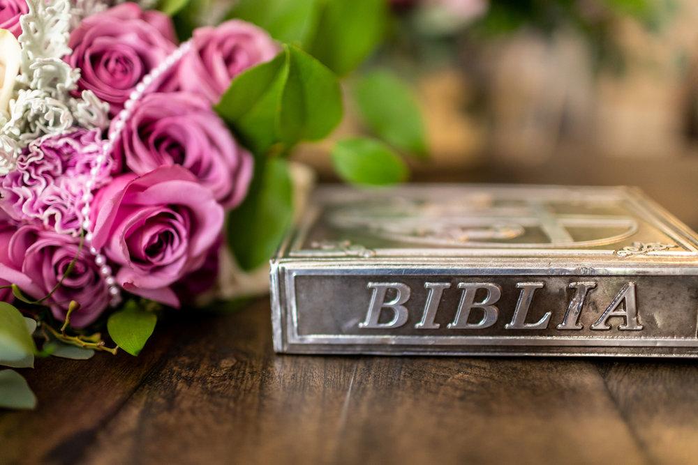 ! Spanish Bible Wedding Bouquet Getting Ready Detail Photo.jpg