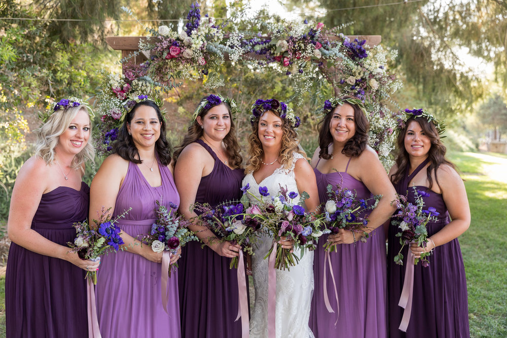 Floral Bridesmaids surround beautiful country bride.jpg