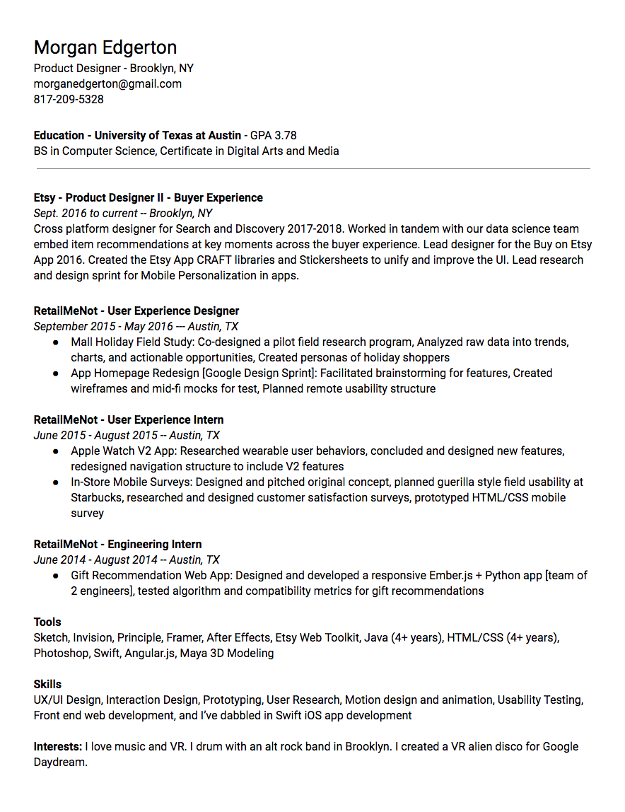 Resume — Morgan Edgerton