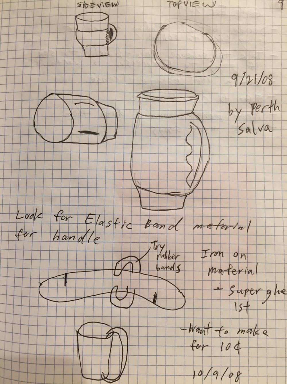The only image I can find of the BevGrip. These are initial sketches from my notebook