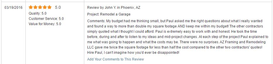 Reviews — AZ Framing and Remodeling, LLC