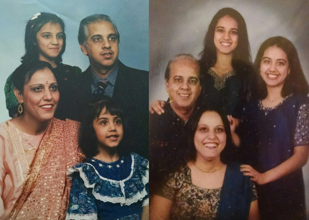 The Sachdev family through the years. The most recent portrait was right before Kewalnain Sachdev passed away. (Courtesy of Renu Sachdev)