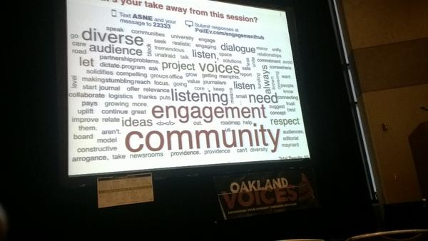 Attendees of the conference text speakers terms that drive engagement which formed this word cloud  (photo by me)