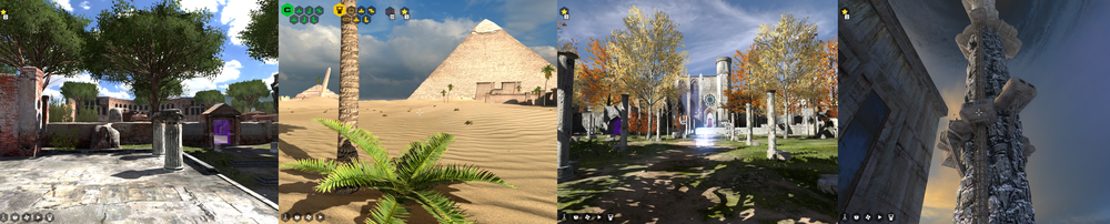 (From left to right) Ancient Greece, Ancient Egypt, the middle Ages to Renaissance, Tower of Ascendence - All of the worlds available in the Talos Principle.
