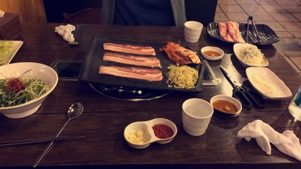 One of our dinners courtesy of the bosses. This is Samgyeopsal, a delicious meal where you cook the meat right in  front of you on your table. This has probably been one of my favorite meals I've had so far.