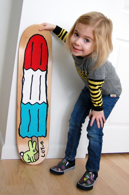 Kid art paint a skateboard deck jen geigley for Best paint for skateboard decks