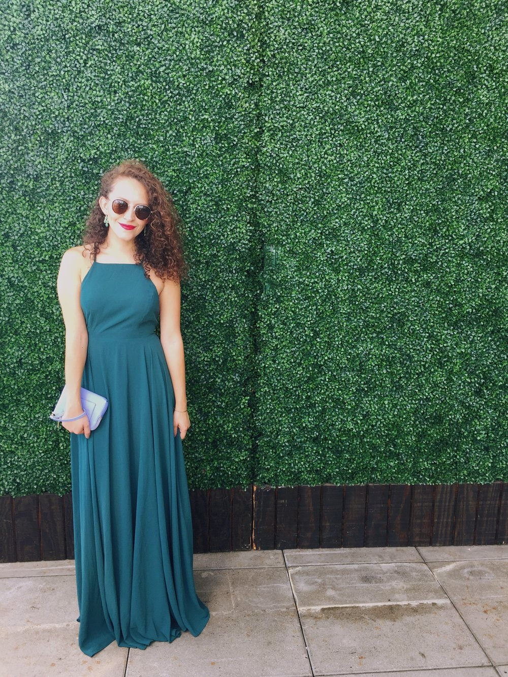 Floor length deep emerald green dress / formal wedding guest outfit