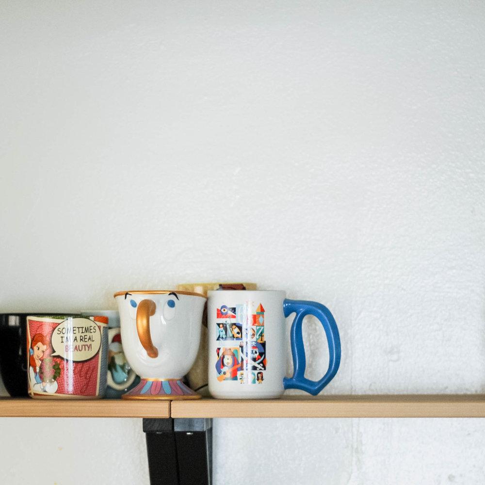 Collection of Disney mugs | tintedgreenblog.com
