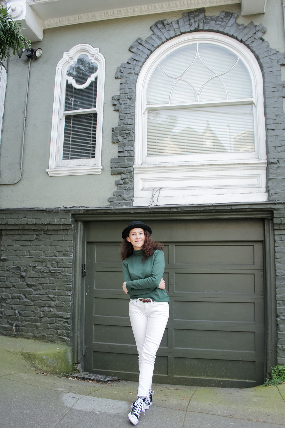 hanging out in the Haight-Ashbury neighborhood of San Francisco | spring capsule wardrobe outfit | san francisco outfit | tinted green