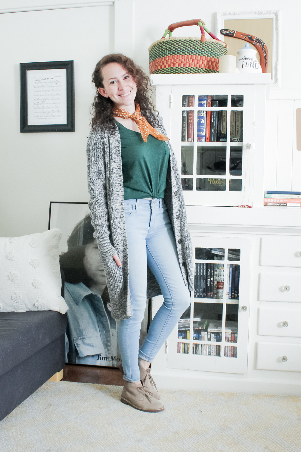 a casual outfit from my spring capsule wardrobe | striped shirt, levis skinny jeans with desert boots | tintedgreen