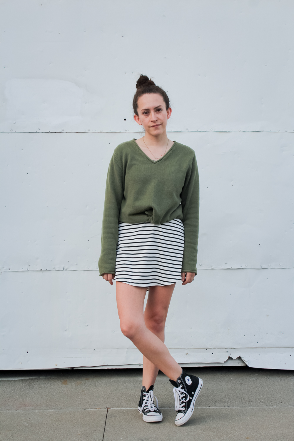 Day 4 of the Spring 10x10/Unfancy Remix challenge! I wore a light green v neck sweater over a stripe t shirt dress and styled it with a top knot and my high top converse sneakers