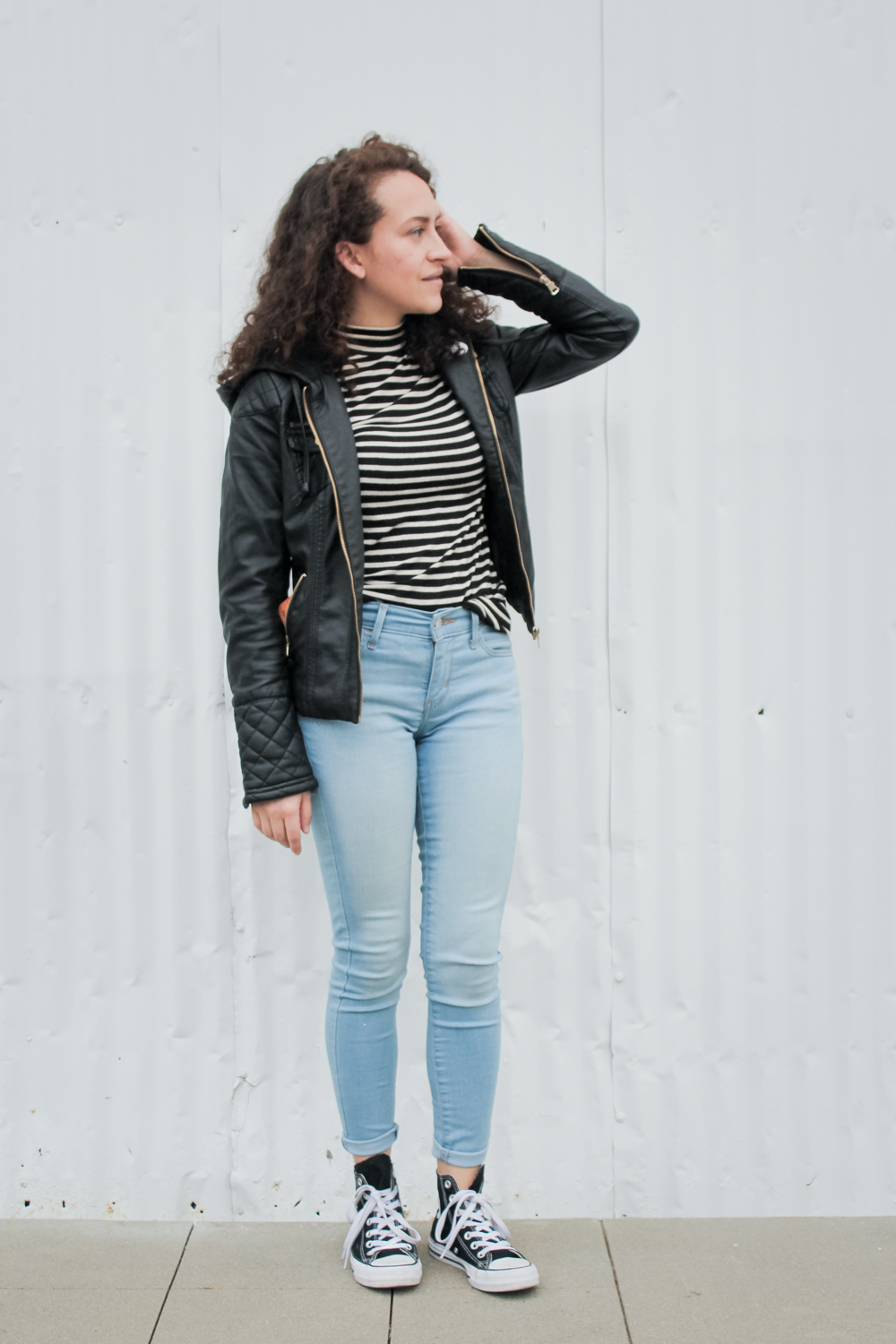 striped mockneck top with levis skinny jeans, high top converse sneakers and a leather jacket for day 6 of the spring 10x10 challenge/unfancy remix | tintedgreen