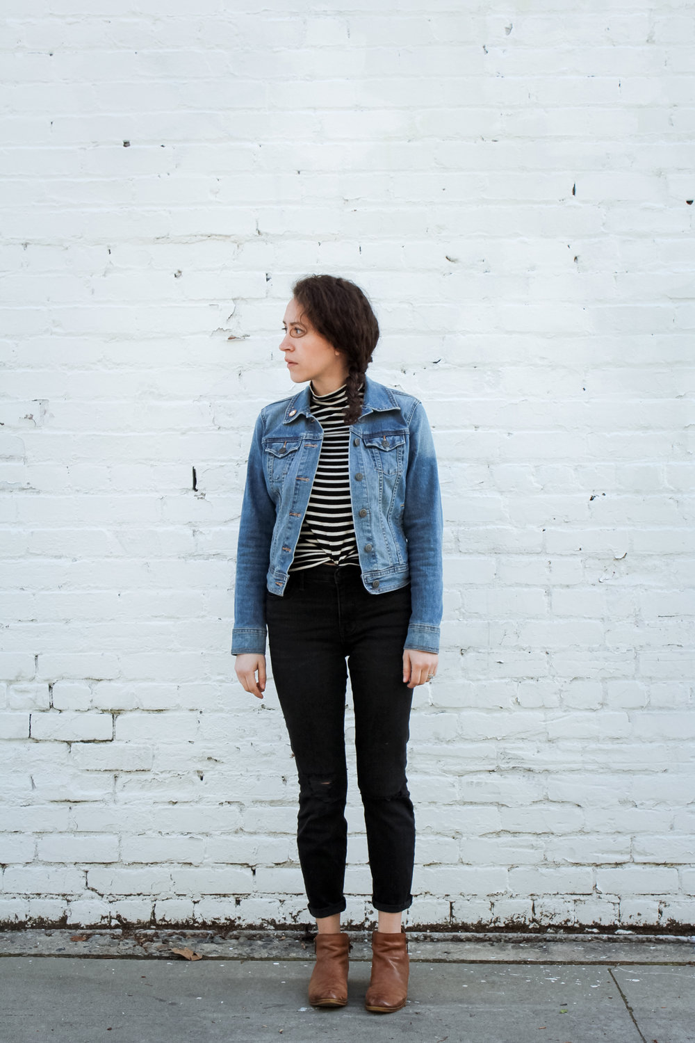 i wore a striped mockneck top with my madewell high rise jeans, lucky brand ankle boots and my old navy denim jacket as my outfit for day 8 of the unfancy remix/spring 10x10 challenge. all of these pieces are from my spring capsule wardrobe. it's crazy how versatile a small closet can be!