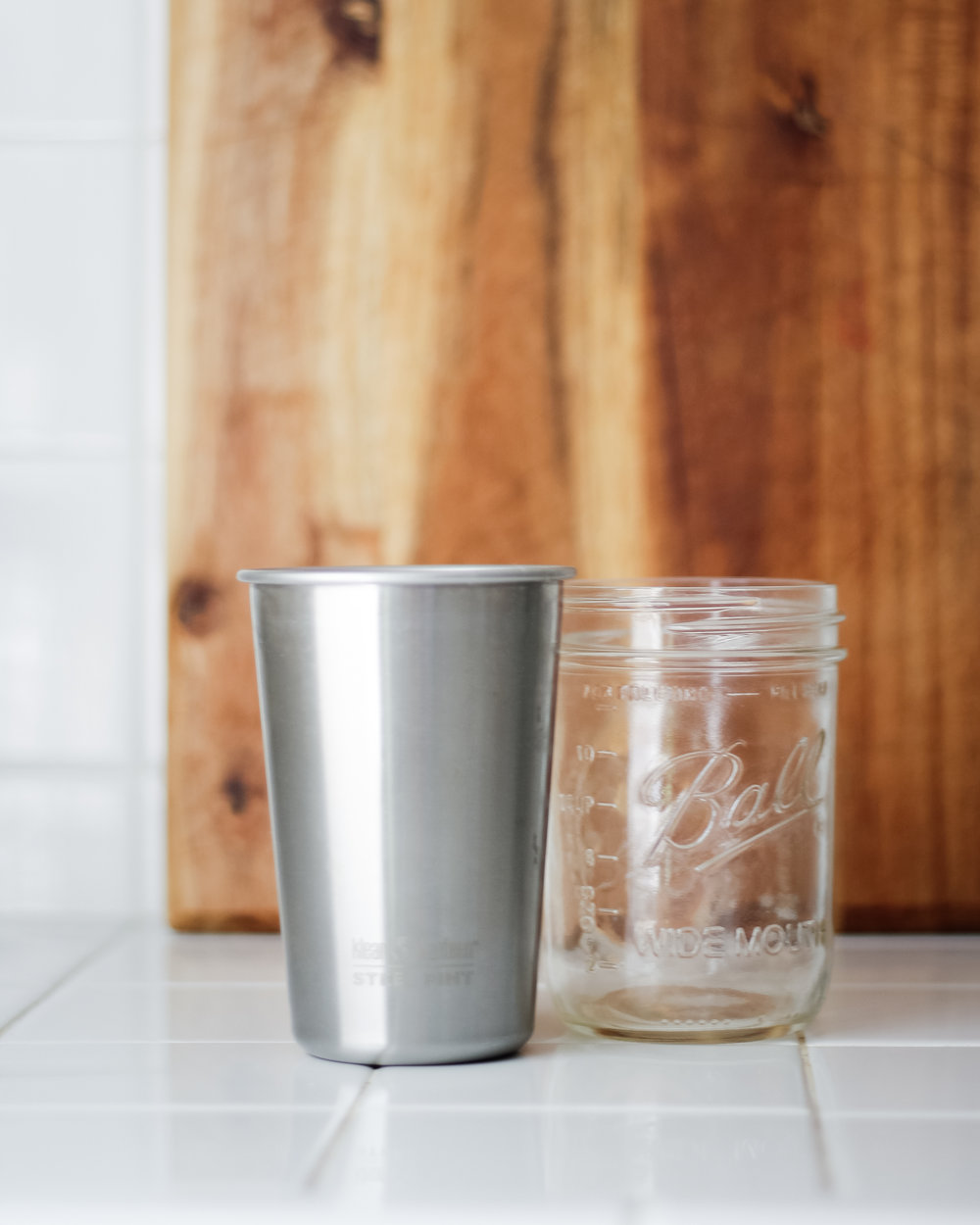 Bring Your Own Cup to avoid using a single-use, disposable plastic one! I love my klean kanteen steel pint because it's so lightweight, but I know zero wasters love the mason jar because it's sturdy and easy to seal.
