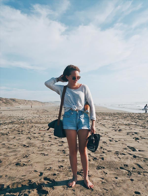 similar sweater  /  similar shorts  /  sandals  /  sunglasses  /  water bottle