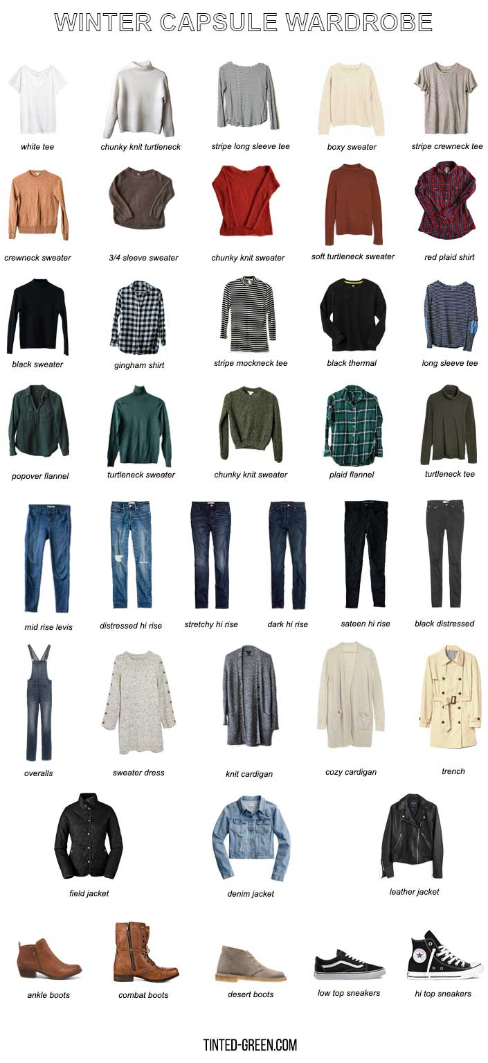 casual colorful winter capsule wardrobe