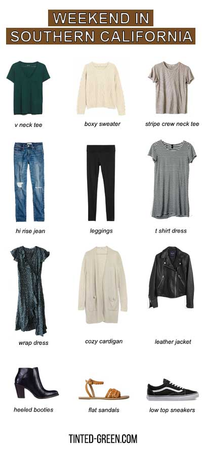 minimal packing list for a long weekend in southern california