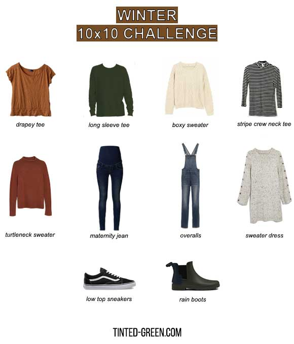 winter 10x10 matenrity capsule wardrobe challenge pieces