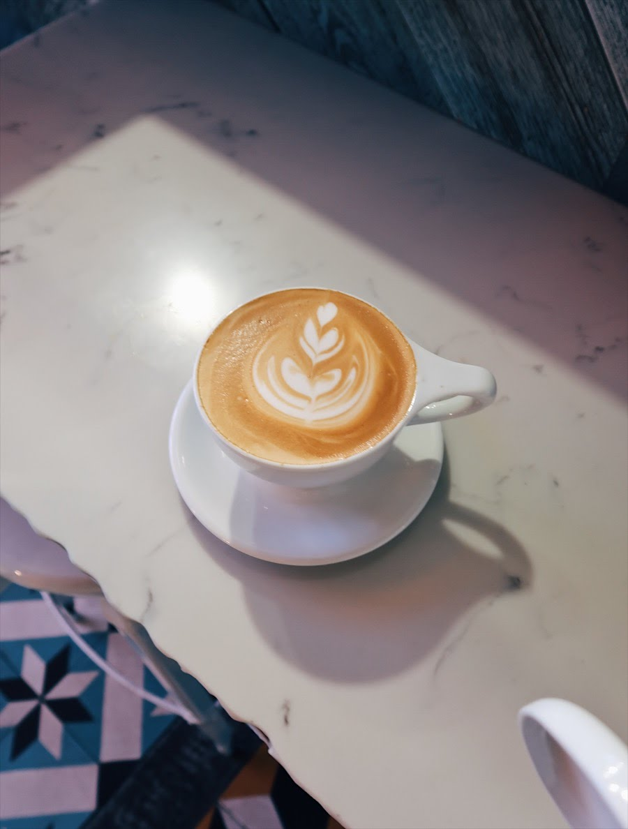 latte art from dripp coffee in fullerton, ca