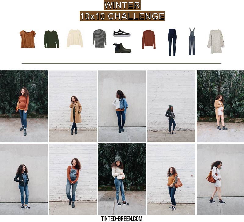 the winter 10x10 challenge: 10 pieces, 10 outfits / how to wear overalls, maternity winter outfits, casual winter outfits