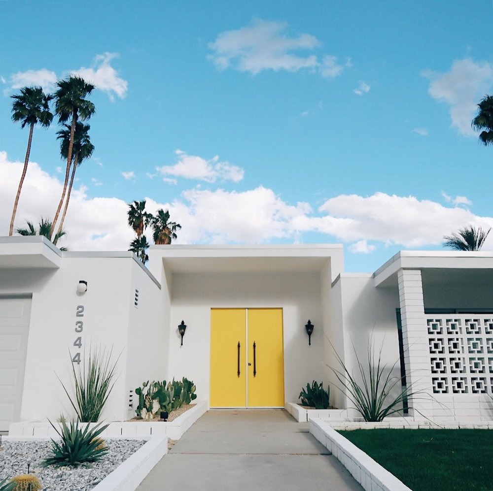 #thatyellowdoor in Palm Springs, CA | tinted green