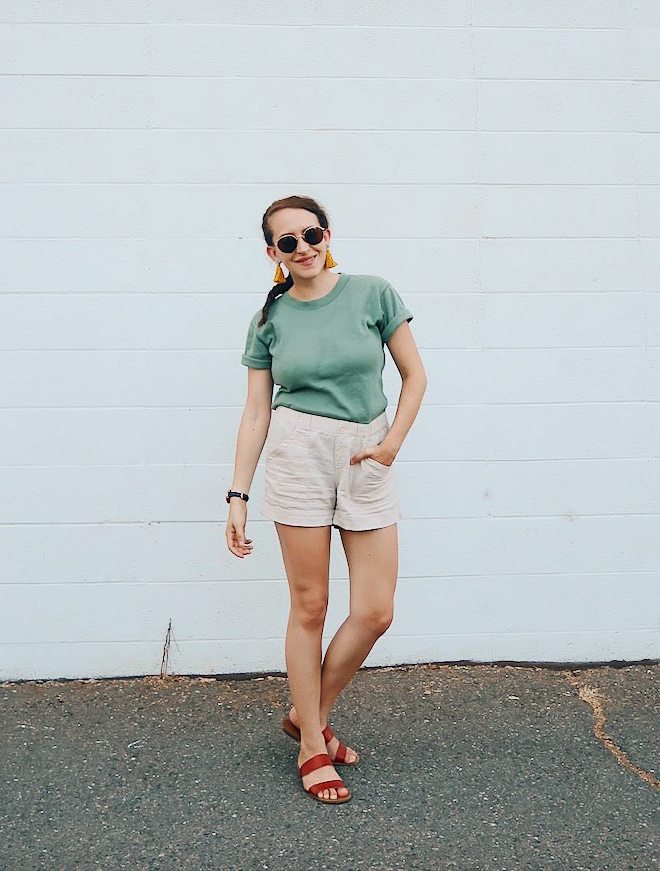 10 items 10 ways, 10 items 10 outfits, 10 items 10 days, 10 pieces 10 outfits, 10x10 challenge | wearing thrift store find light green boxy t shirt, beige tan cotton shorts, yellow tassel earrings, #madewell sunglasses, and fossil hybrid smartwatch | tinted-green.com