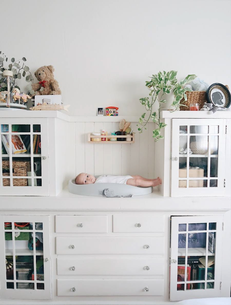 tinted-green.com | earth tone nursery, baby in a studio apartment, minimalist nursery, gender neutral nursery, bumbo changing pad, sustainable living