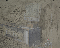 Switch (lit room) Graphite, intaglio, pastel and photoluminescent pigment on paper.