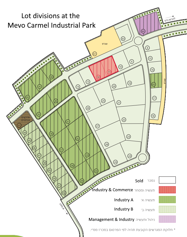 Lot divisions map from the  Mevo Carmel web site .