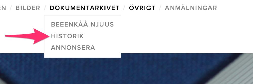 OBS. Huvudmeny alternativet som tidigare var 'Beeenkåå njuus' är numera 'Dokumentarkiv' då det är meningen att det kommer mera olika slags dokument hit med tiden.