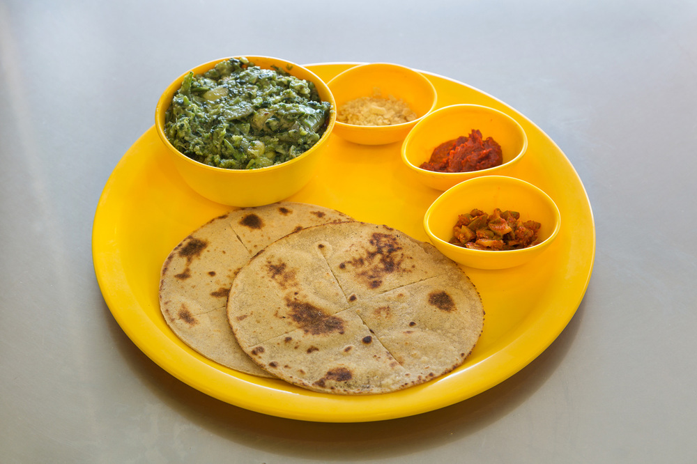 seasonal vegetables with roti