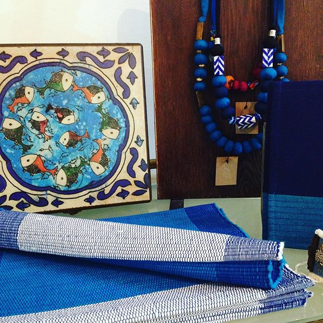 #shadesofblue 💙🐟💙🐟 #ethicalhome #ethicalfashion featuring some of our beautiful #handmade products from @masoudi.london and @selynfairtrade made in #iran and #srilanka