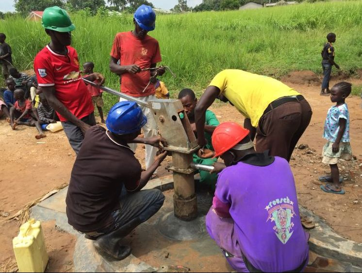 Water & Health For All's water engineering team rehabilitates well Wang Latom, in Gulu.