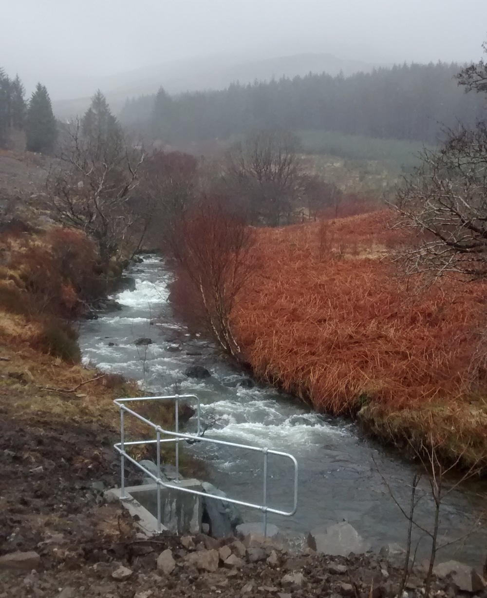 Water from the Garmony hydro returns to the Allt Achadh na Moine burn