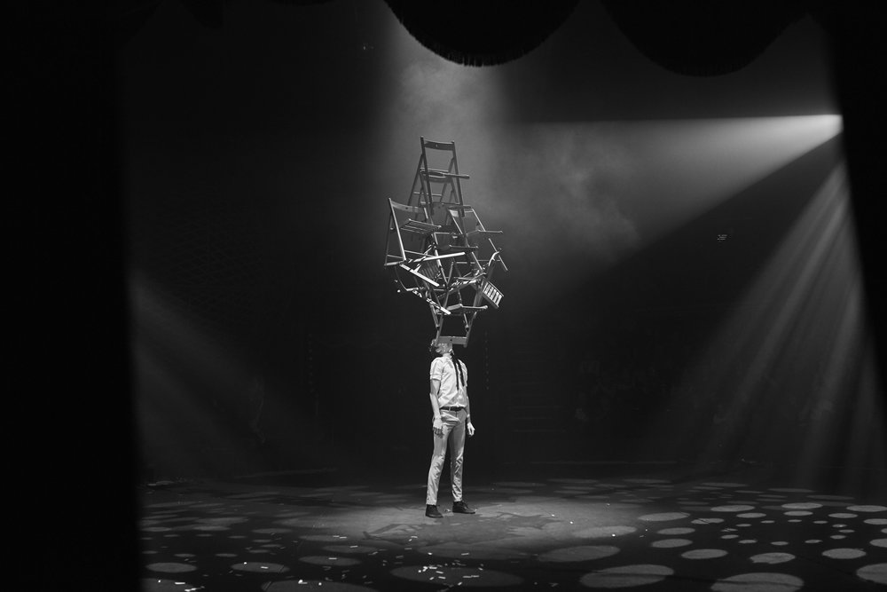 Tom Gaskin balancing chairs at The Great Yarmouth Hippodrome Circus