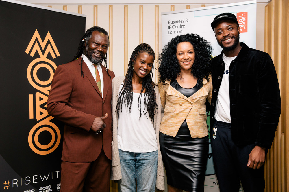 Levi roots and other speakers at the British Library Mobo Month event, featuring th elegend himself, Levi Roots, Kanya King MBE, June Sarpong, Yinka Llori...