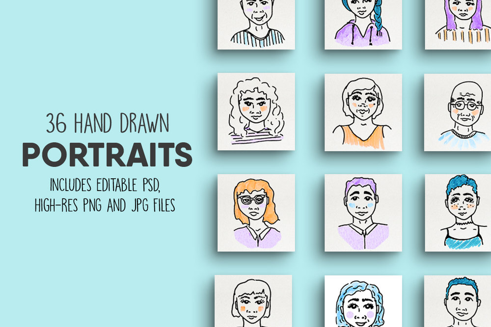 Hand Drawn Portraits // $7 - Fresh, fun, & quirky illustrations to bring your designs to life!