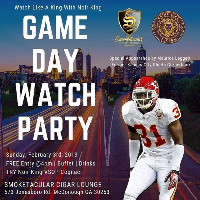 """@Noirkingcognac VSOP presents """"Watch Like A King"""" Official Big Game watch party Sunday February 3rd 2019. Free Entry, Free Buffet and yes Free Noir King Cognac VSOP when you join the #NoirKingNation on NoirKing.com!! Doors open at 4pm. Seating is Limited First Come First Serve. #superbowl #superbowlparty #superbowl53 #cognac #atlanta #atl #freedrinks #watchparty"""