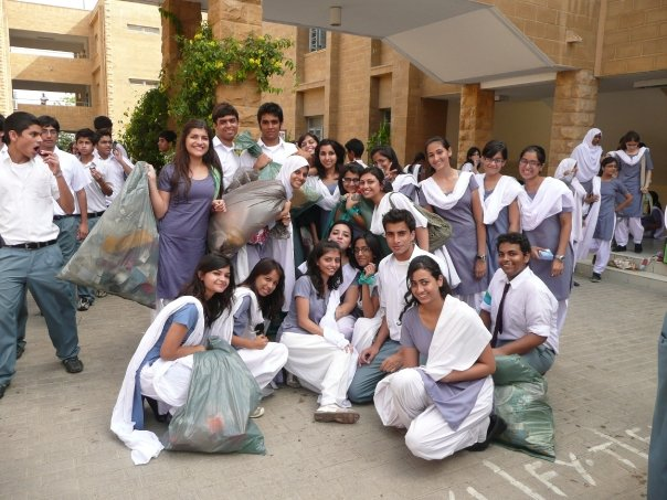 KGS college students during a campus clean up day -- taken from a former student's personal blog.