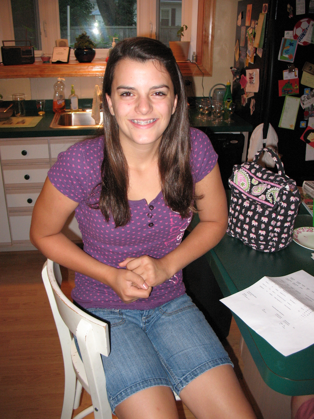 My extremely awkward first day of 8th grade picture--thanks Dad!