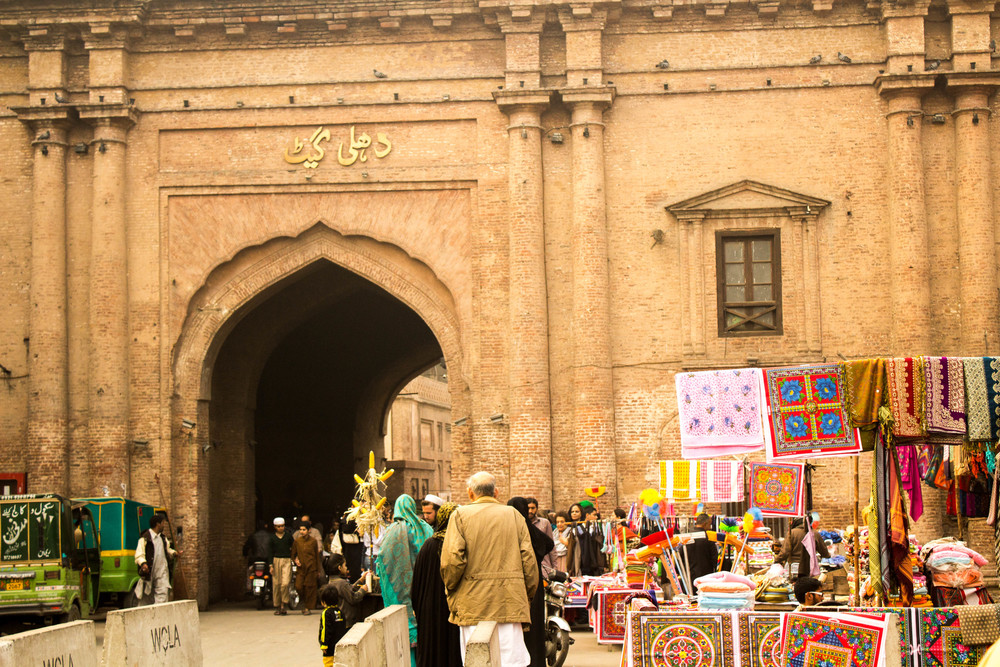 Delhi gate, another of Old Lahore's 13 original gates. Built by the Mughals, Delhi gate was one end of the road that led from Lahore to Delhi. There is a Lahore gate in Delhi that marks the other end of the road.