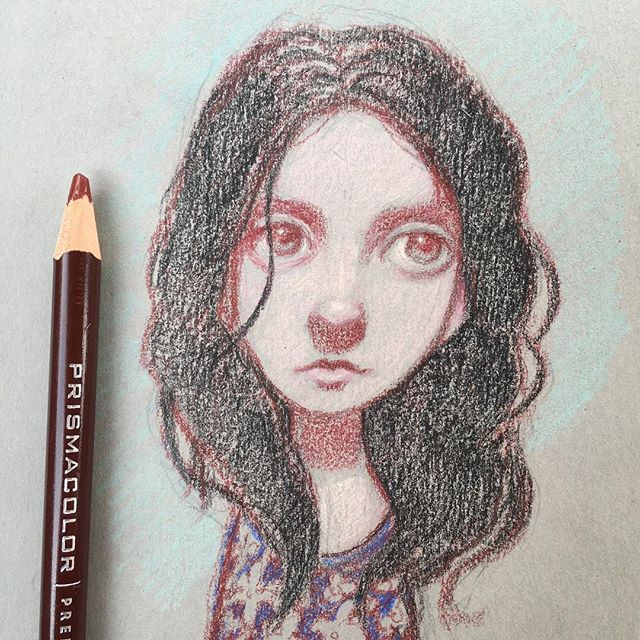 Quick Prismacolor drawing. - #study  #sketching #drawing #prismacolor  #fabercastell #pencildrawing #pencilart #newcontemporary #newcontemporaryart #lowbrow #lowbrowart #popsurreal #popsurrealism #instaart #bigeyeart #beautifulbizarre  #thomasascott